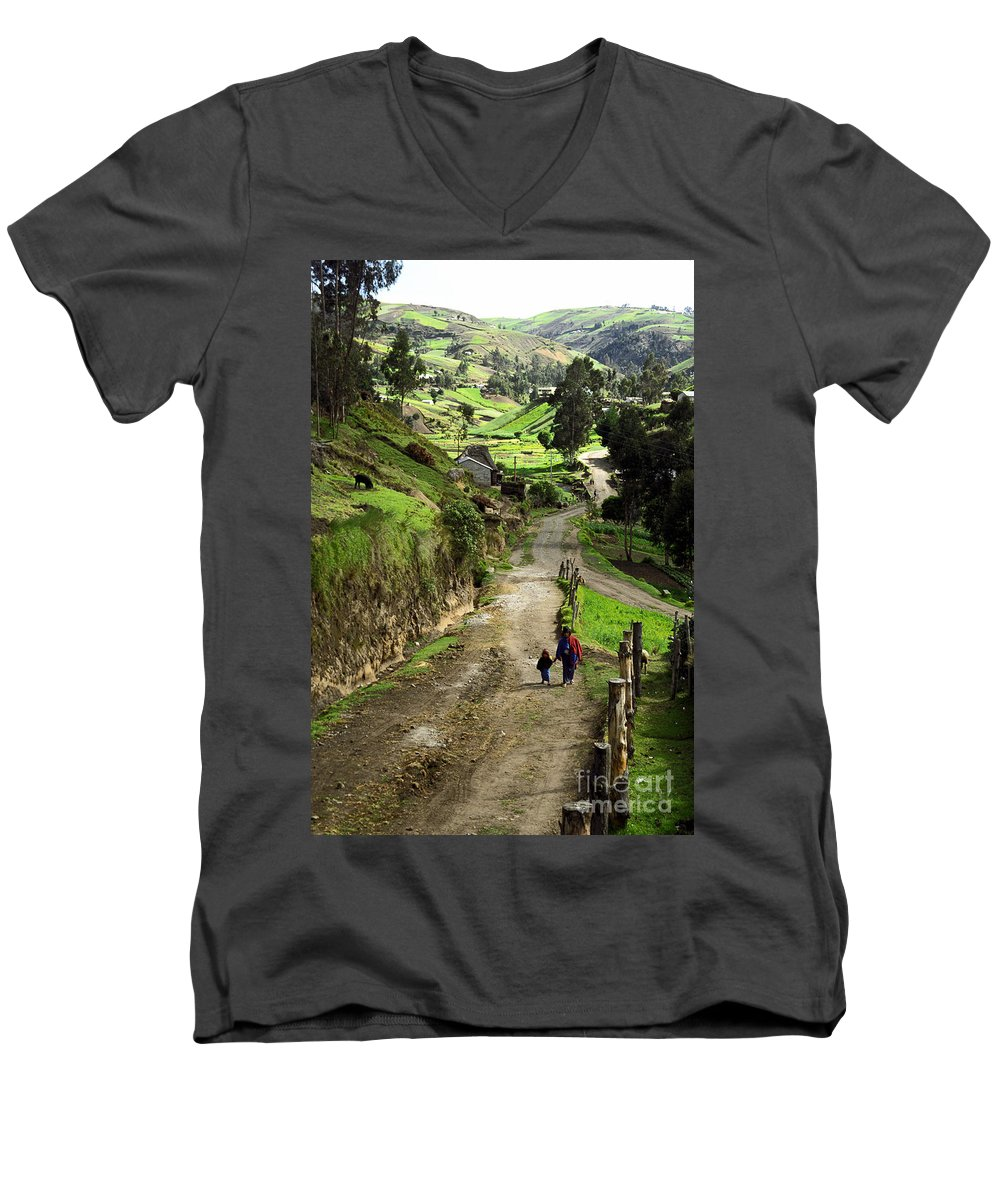 Ecuador Men's V-Neck T-Shirt featuring the photograph View Of Lupaxi by Kathy McClure