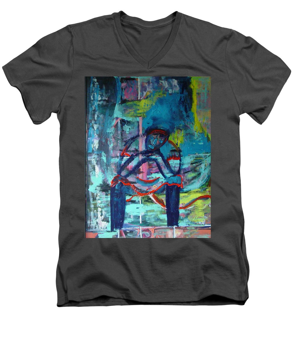 Woman On Bench Men's V-Neck T-Shirt featuring the painting Waiting by Peggy Blood