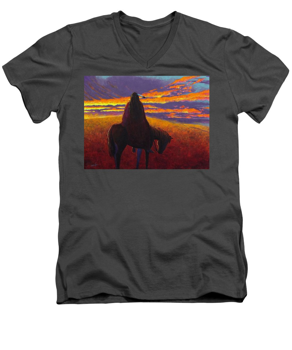 Native American Indian Men's V-Neck T-Shirt featuring the painting Watching The Magic by Joe Triano
