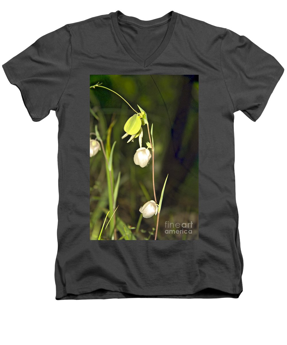 Wildflowers; Globes; Nature; Green; White Men's V-Neck T-Shirt featuring the photograph Whispers by Kathy McClure