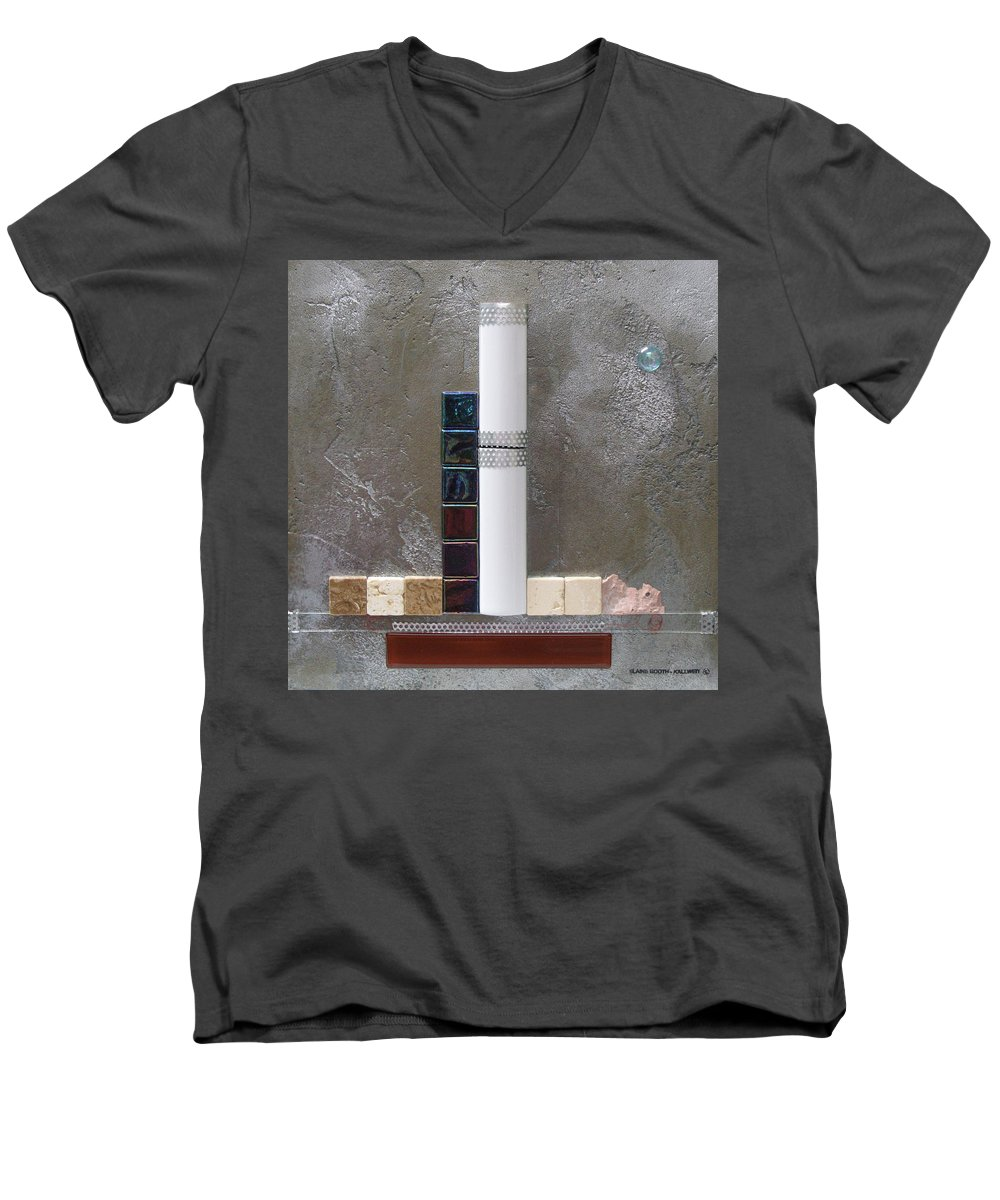 Assemblage Men's V-Neck T-Shirt featuring the relief White Tower by Elaine Booth-Kallweit
