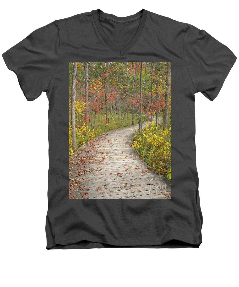 Autumn Men's V-Neck T-Shirt featuring the photograph Winding Woods Walk by Ann Horn