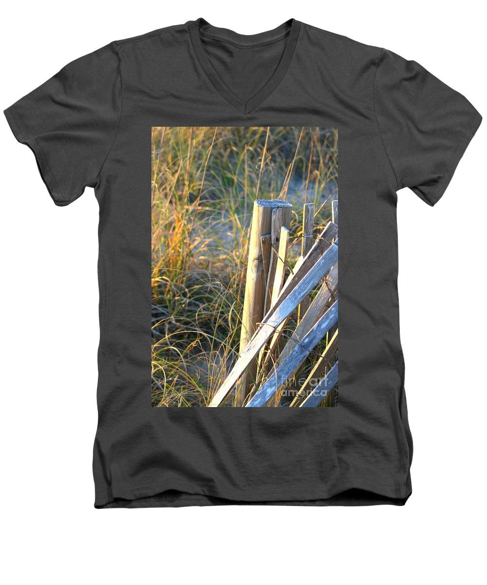 Post Men's V-Neck T-Shirt featuring the photograph Wooden Post And Fence At The Beach by Nadine Rippelmeyer