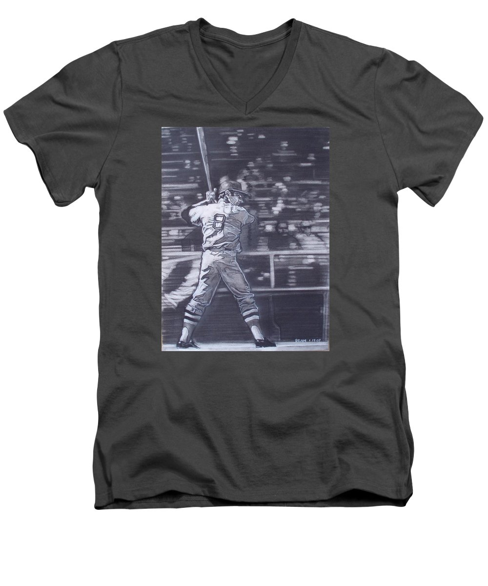 Charcoal Men's V-Neck T-Shirt featuring the drawing Yaz - Carl Yastrzemski by Sean Connolly