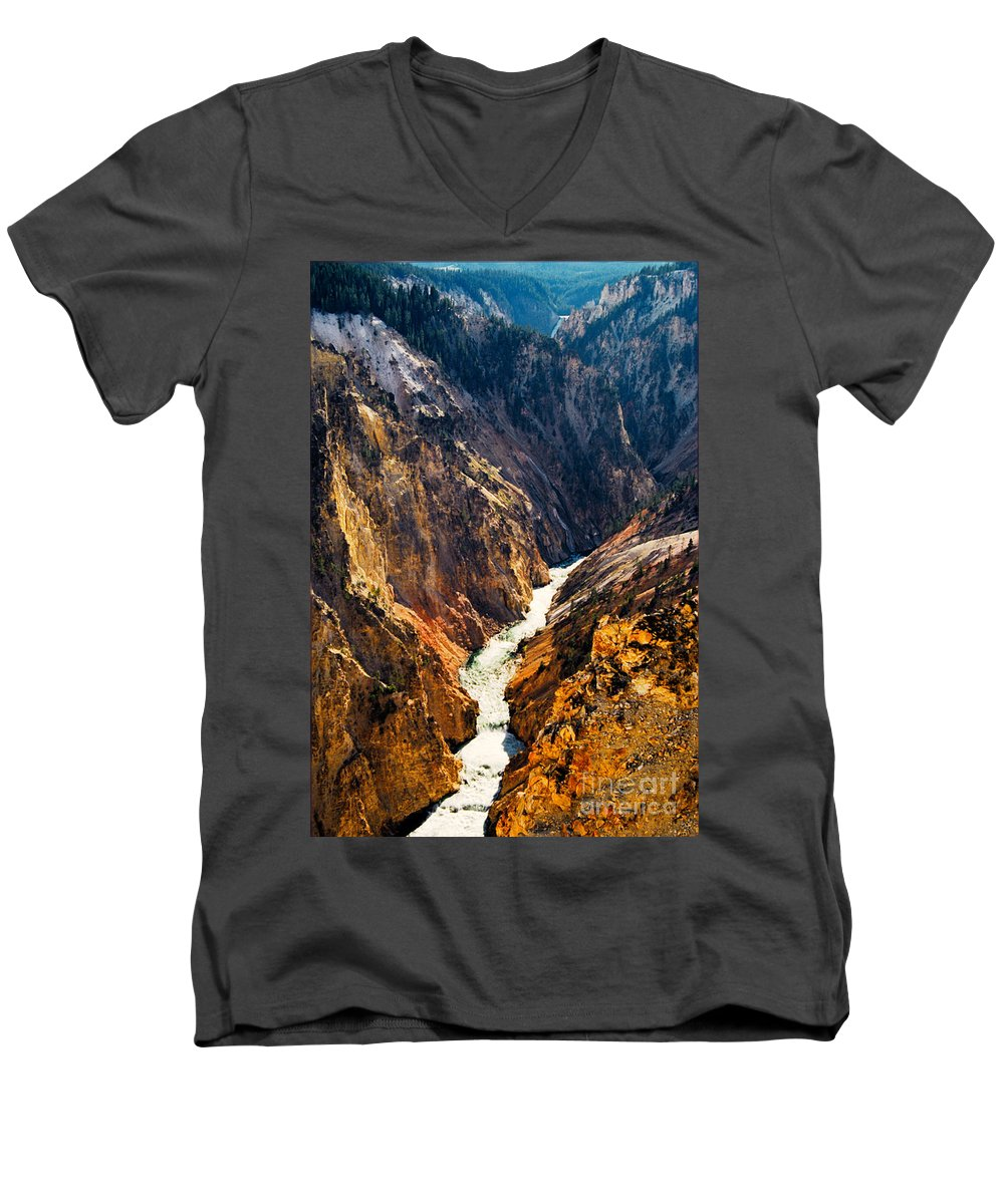 Yellowstone Men's V-Neck T-Shirt featuring the photograph Yellowstone River by Kathy McClure