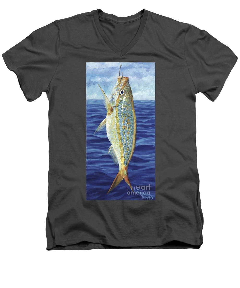 Snapper Men's V-Neck T-Shirt featuring the painting Yellowtail On The Menu by Danielle Perry