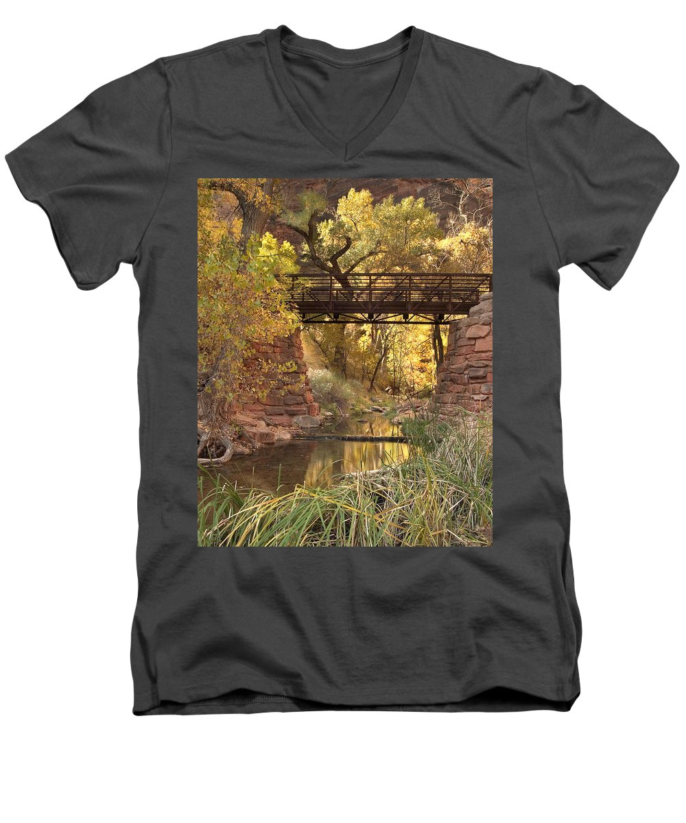 3scape Photos Men's V-Neck T-Shirt featuring the photograph Zion Bridge by Adam Romanowicz