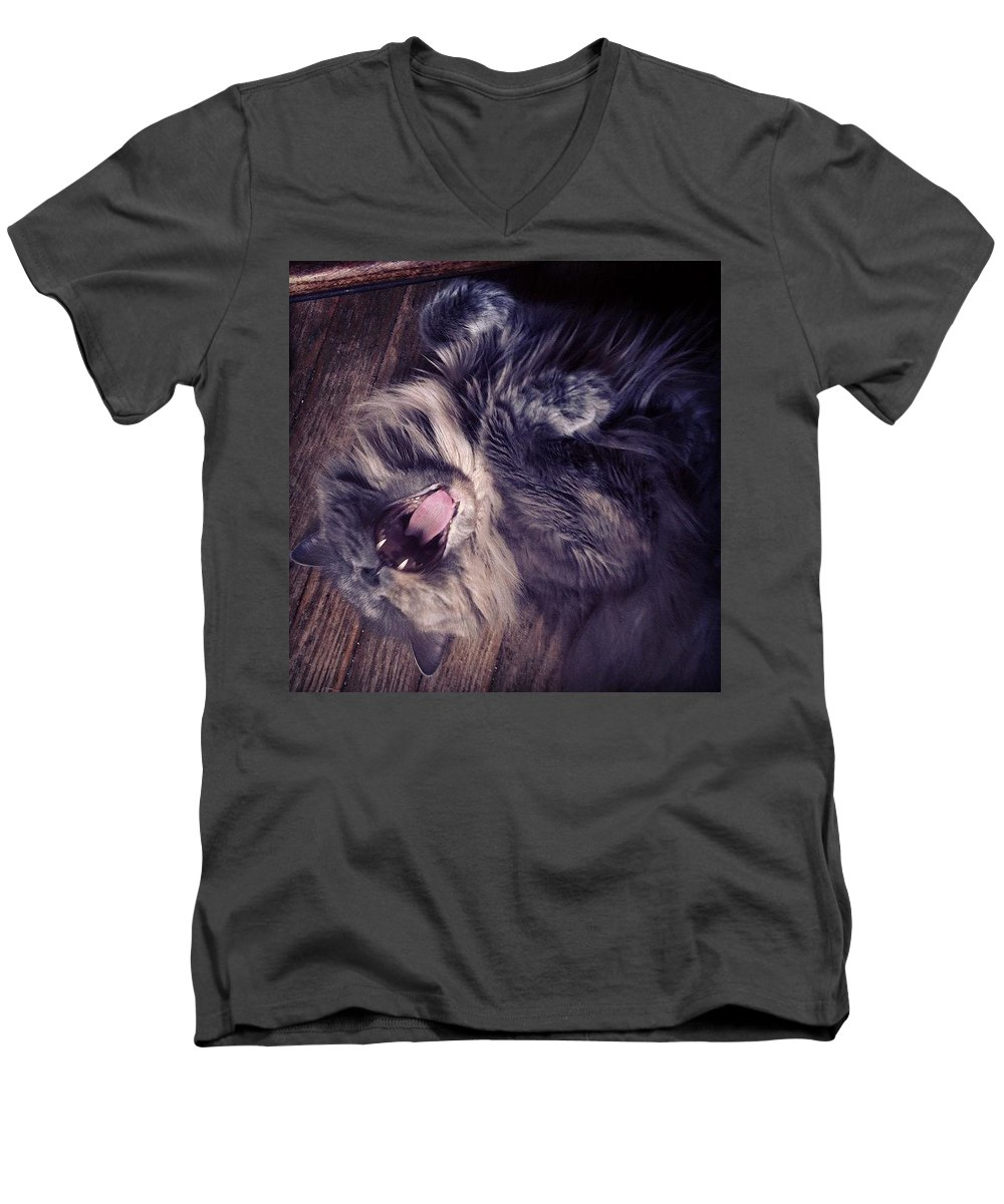 Fangs Men's V-Neck T-Shirt featuring the photograph Has #fangs. Not Afraid To Use 'em by Katie Cupcakes
