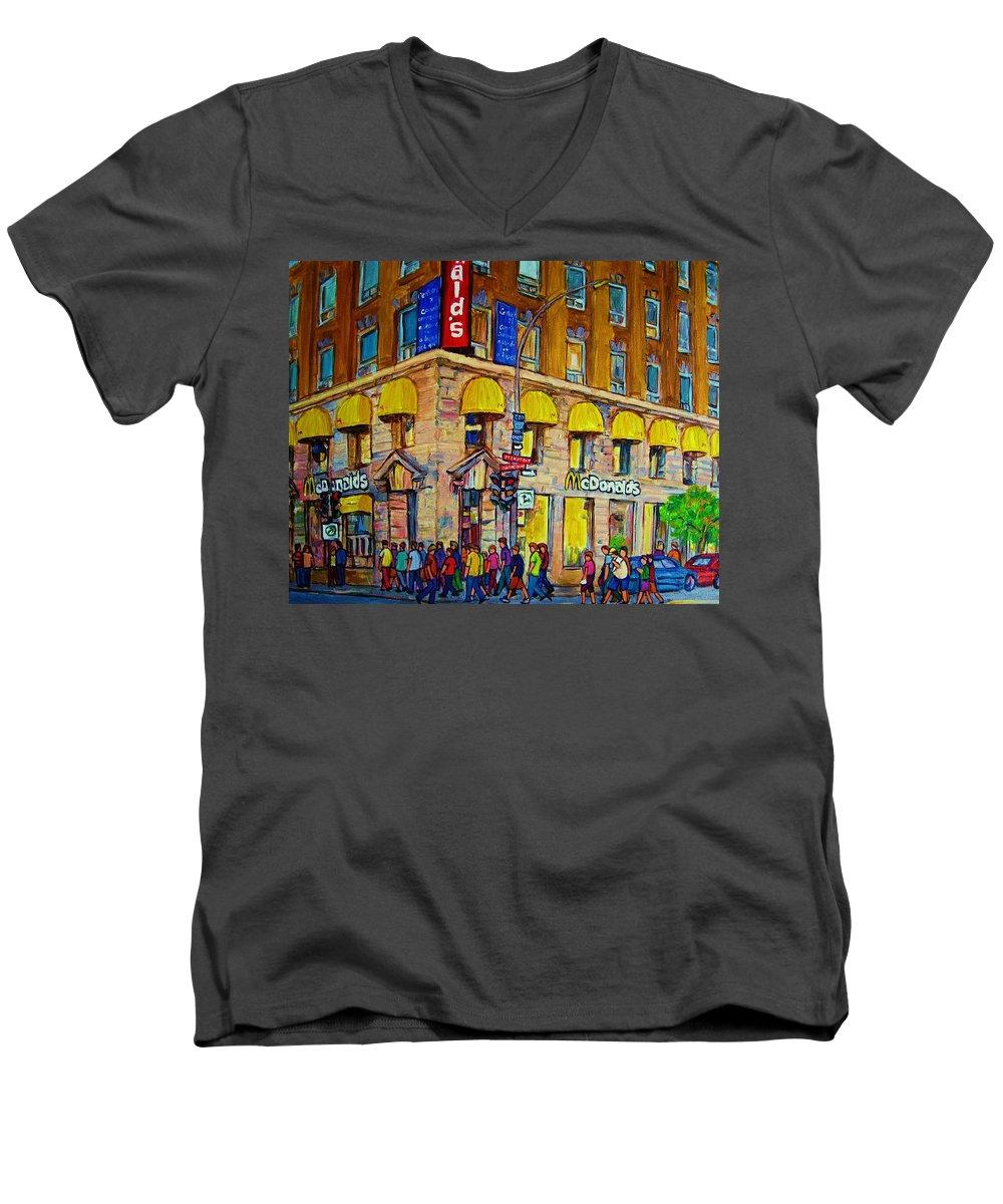 Mcdonald Restaurant Montreal Men's V-Neck T-Shirt featuring the painting Mcdonald by Carole Spandau