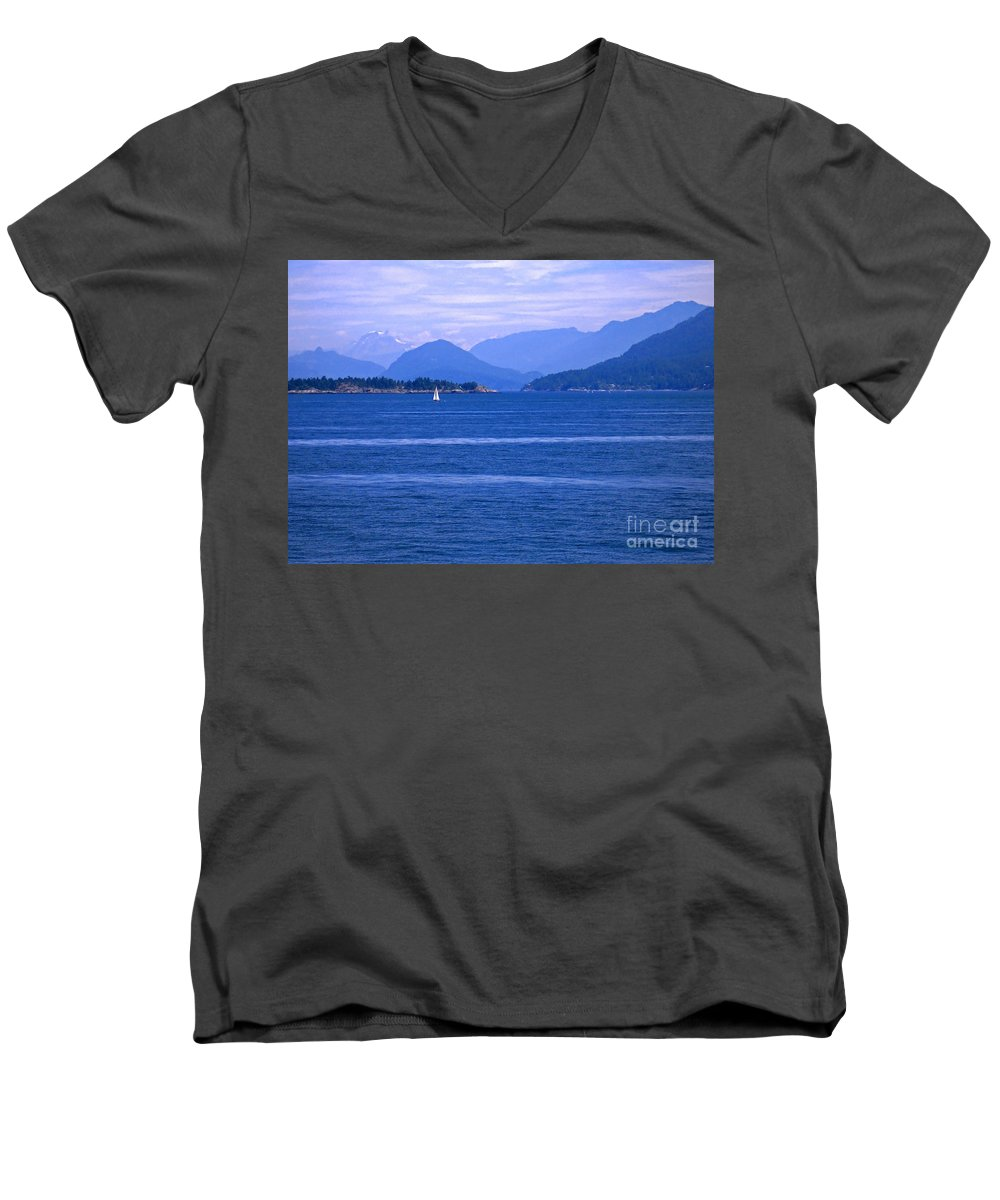 Sailboat Men's V-Neck T-Shirt featuring the photograph Solitary Sailing by Ann Horn