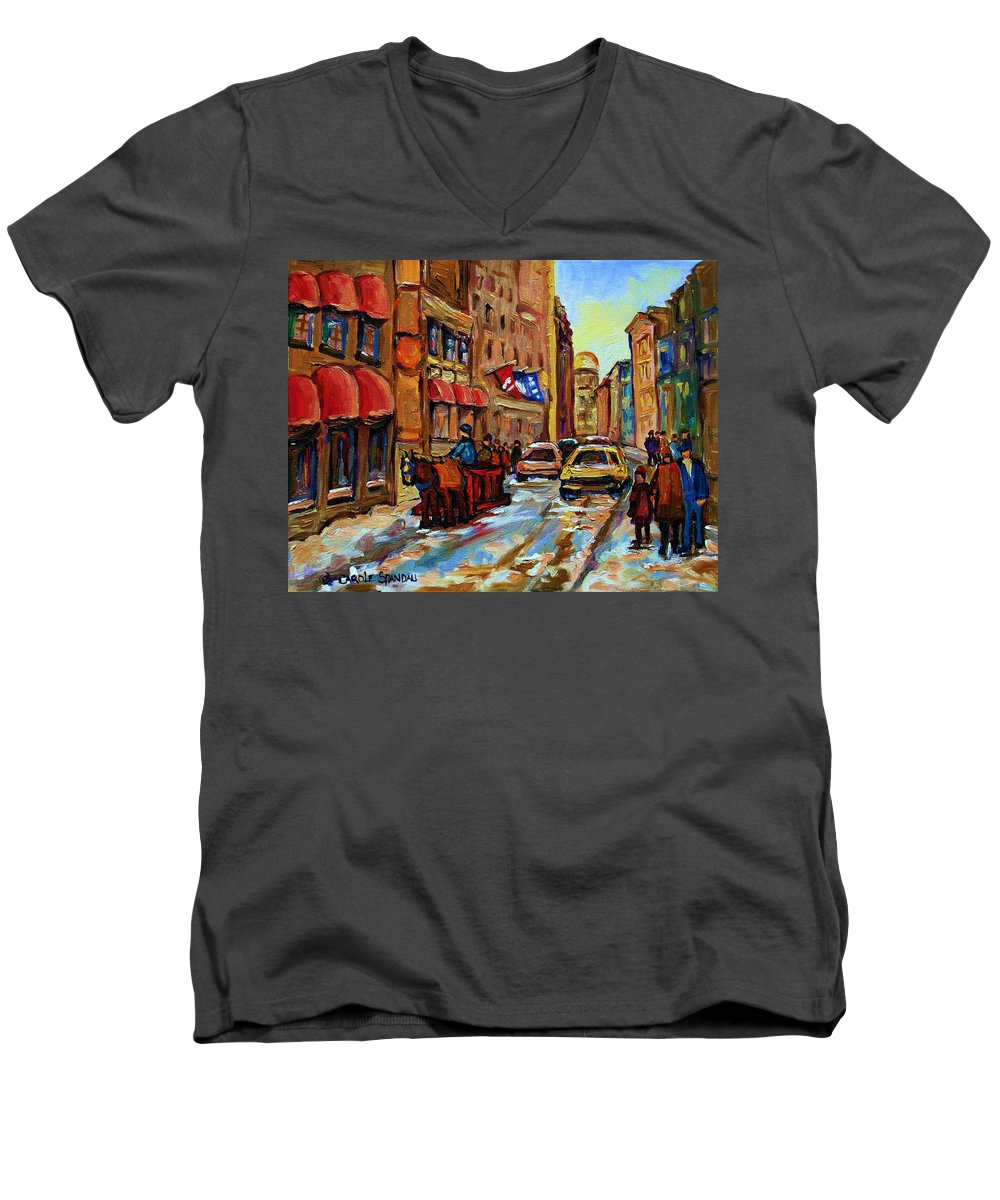 Horses Men's V-Neck T-Shirt featuring the painting The Red Sled by Carole Spandau