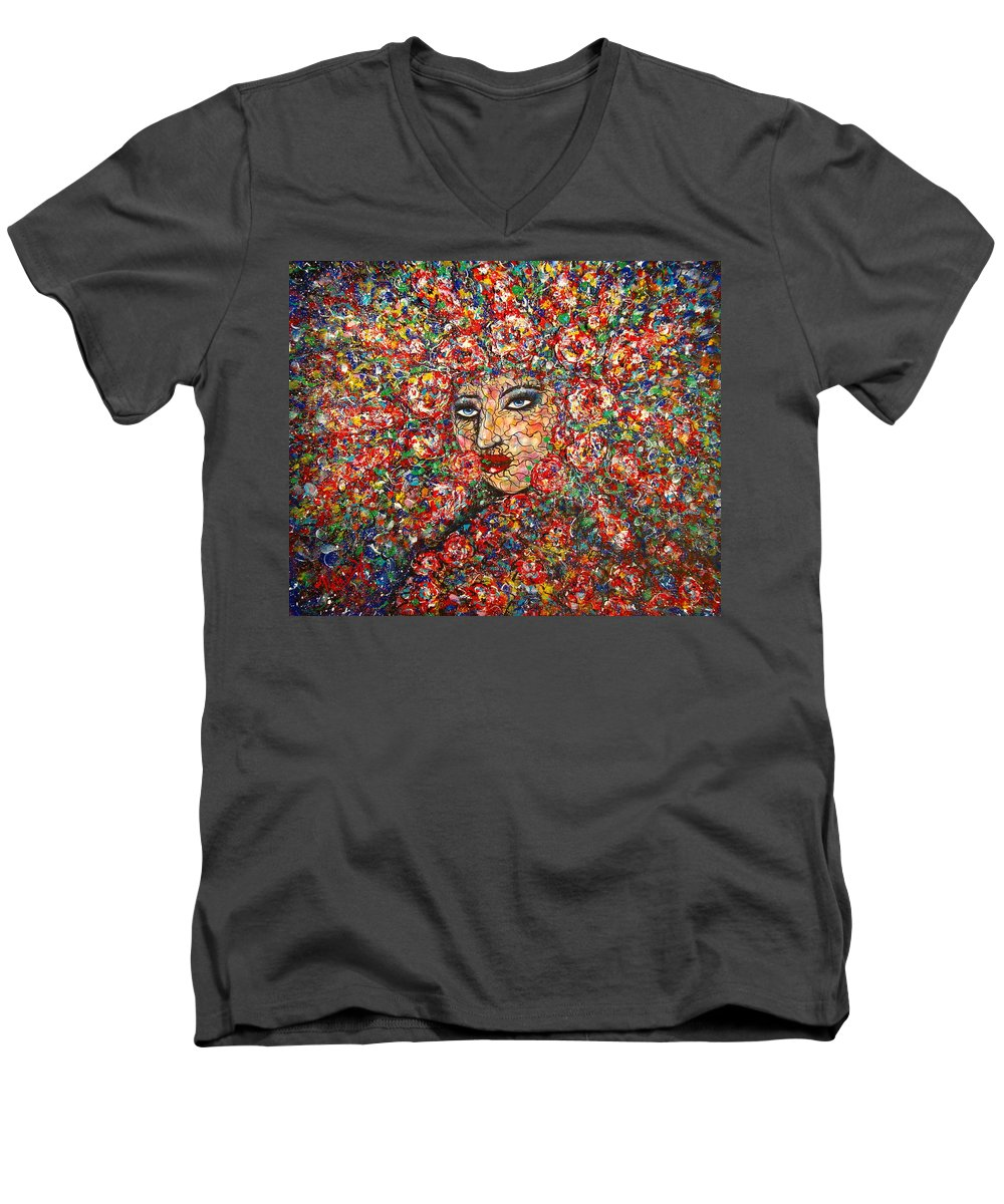 Woman Men's V-Neck T-Shirt featuring the painting  Gentle Beautiful Flower by Natalie Holland