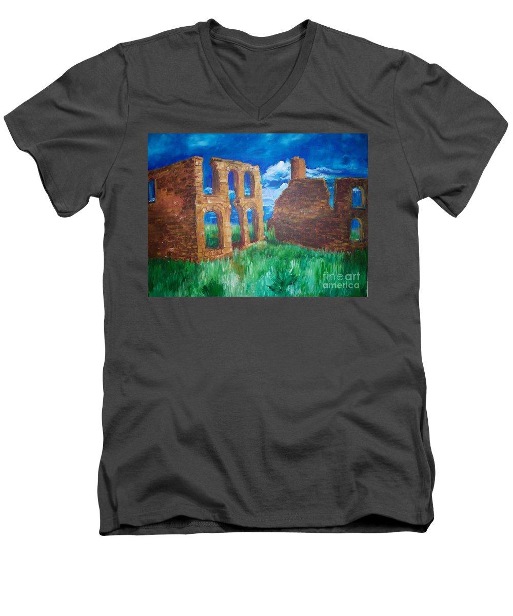 Western_landscapes Men's V-Neck T-Shirt featuring the painting Ghost Town by Eric Schiabor