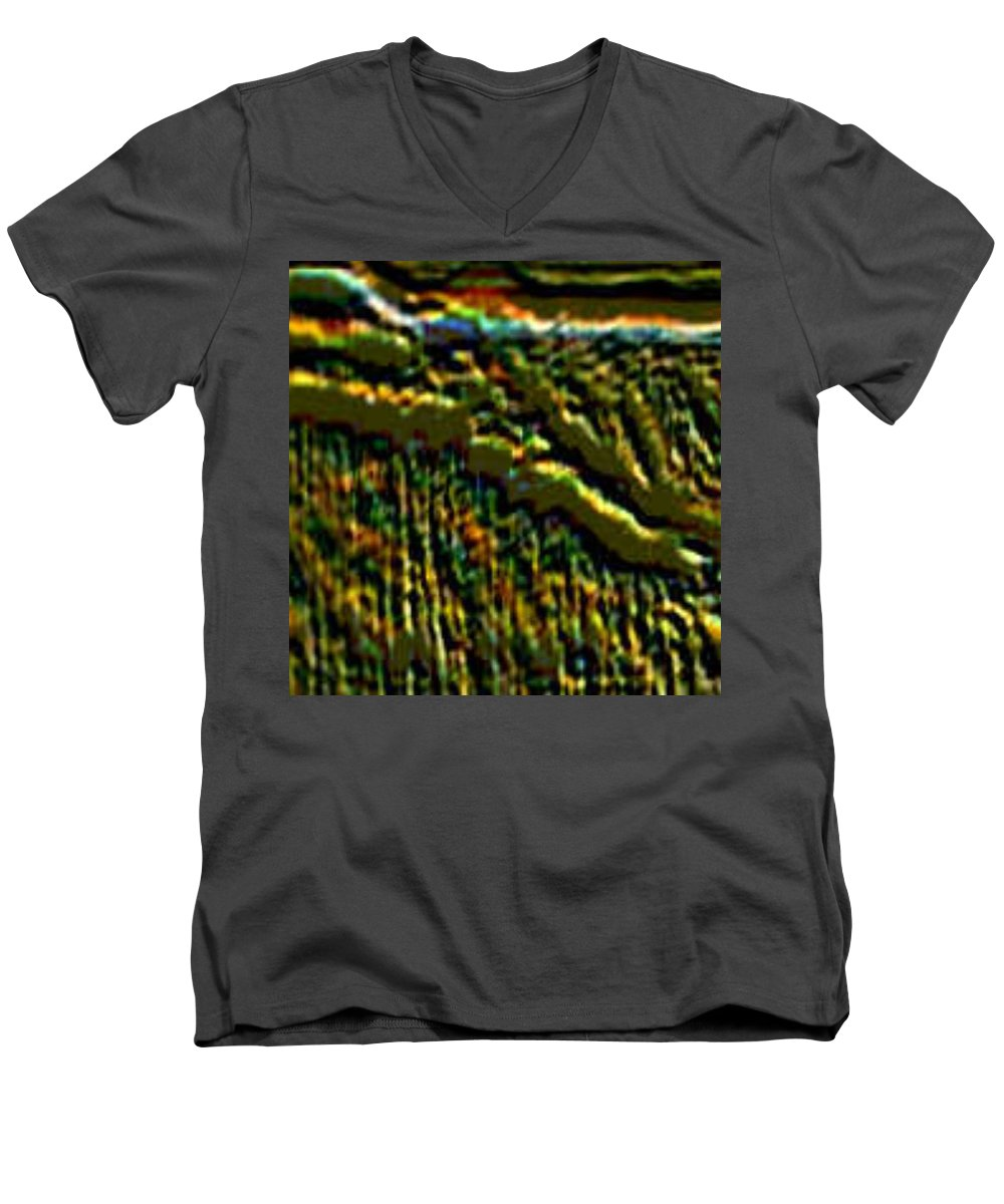 Canyons Men's V-Neck T-Shirt featuring the digital art South Rim- N -green Grandeur by Brenda L Spencer