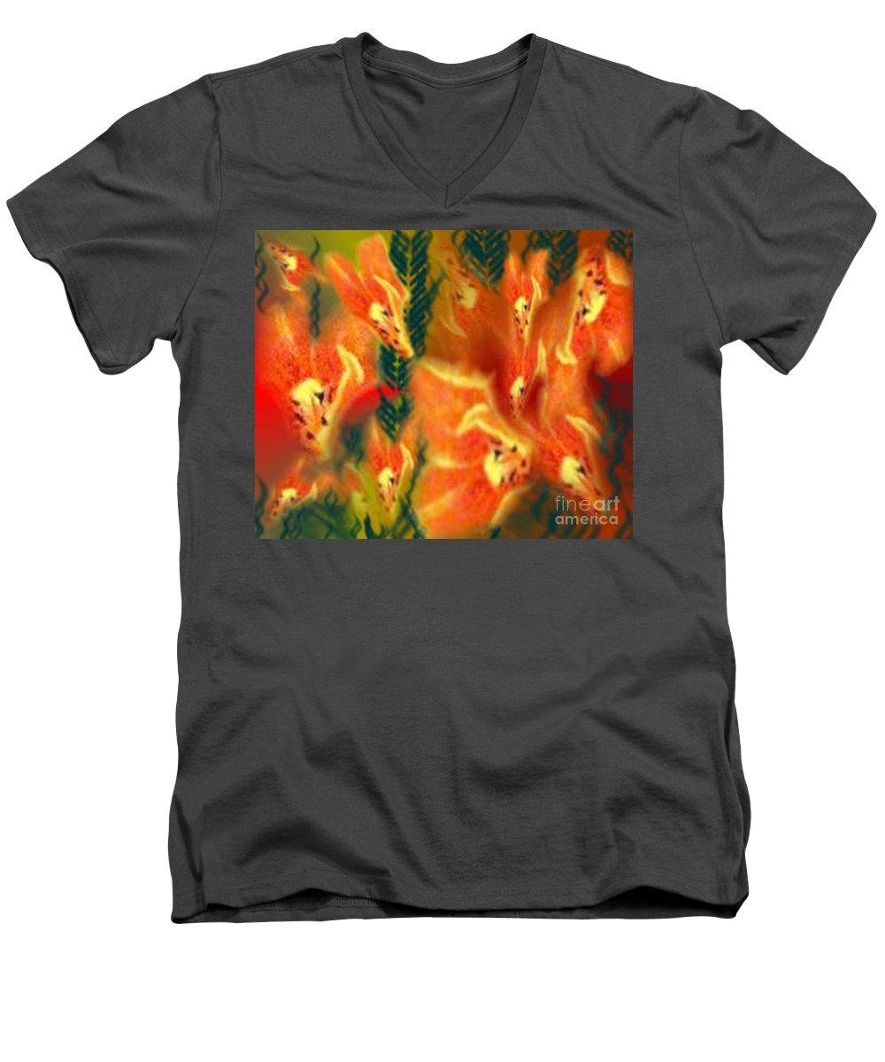 Florals Men's V-Neck T-Shirt featuring the digital art Symphonic Dance by Brenda L Spencer