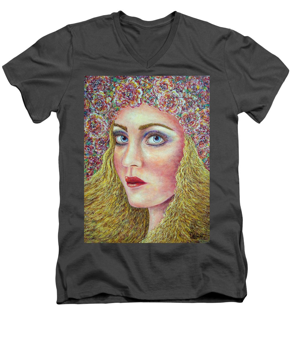 Woman Men's V-Neck T-Shirt featuring the painting  The Flower Girl by Natalie Holland