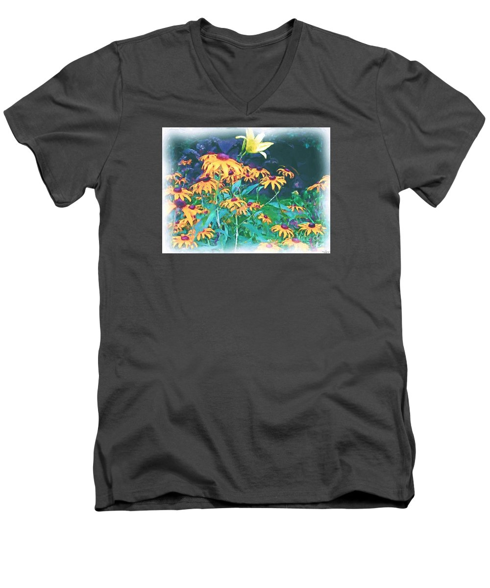 Mixed Media Men's V-Neck T-Shirt featuring the painting A Lily In The Field by Patricia Griffin Brett