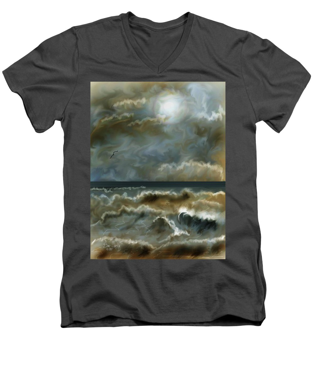 Seascape Men's V-Neck T-Shirt featuring the painting After The Squall by Anne Norskog