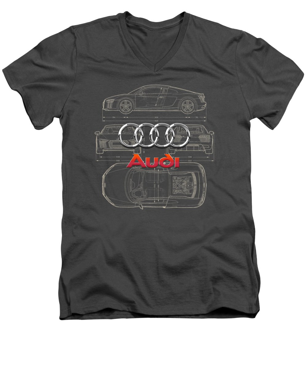 �wheels Of Fortune� Collection By Serge Averbukh Men's V-Neck T-Shirt featuring the photograph Audi 3 D Badge Over 2016 Audi R 8 Blueprint by Serge Averbukh