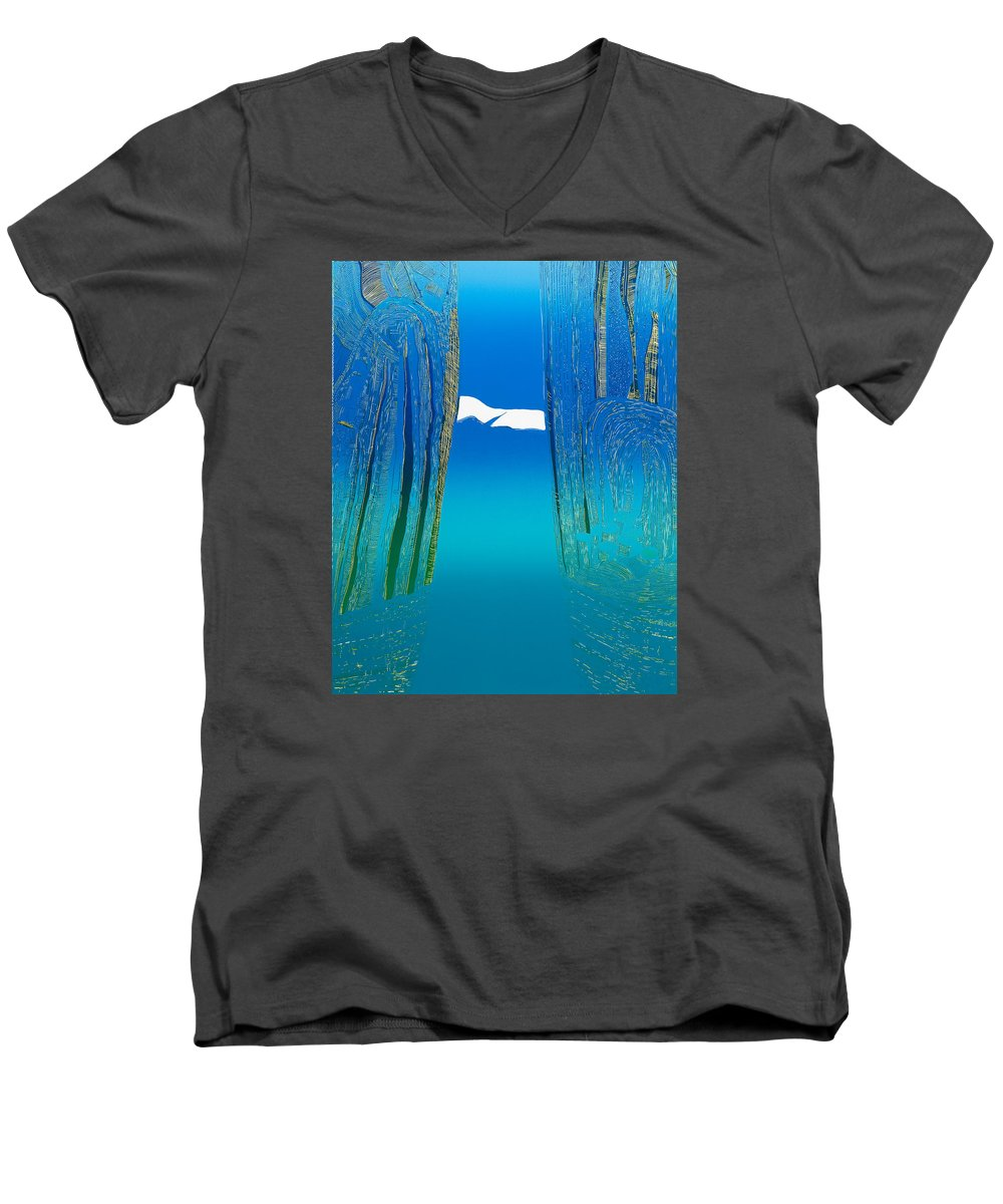 Landscape Men's V-Neck T-Shirt featuring the mixed media Between Two Mountains. by Jarle Rosseland