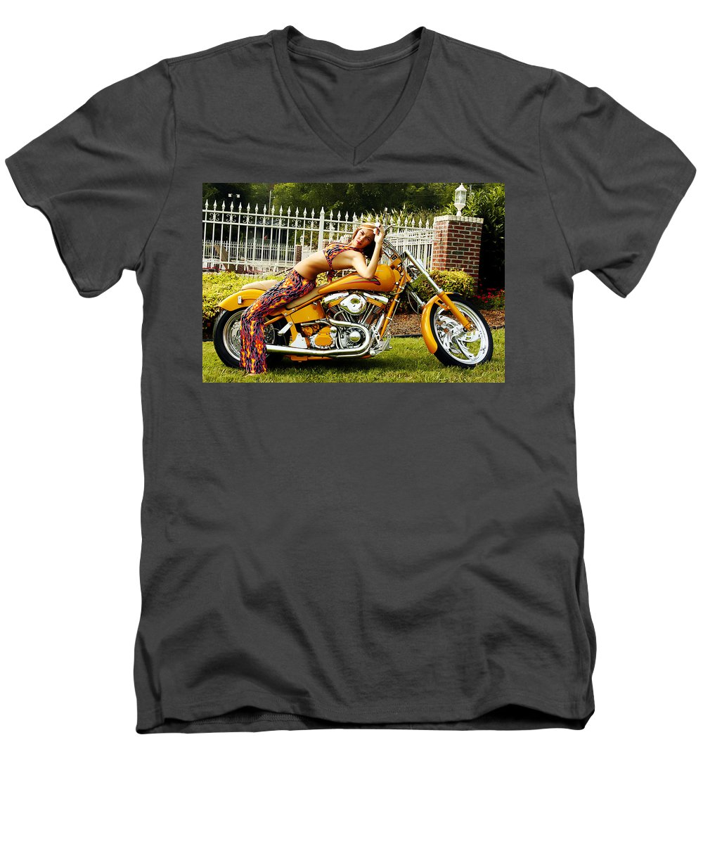 Clay Men's V-Neck T-Shirt featuring the photograph Bikes And Babes by Clayton Bruster