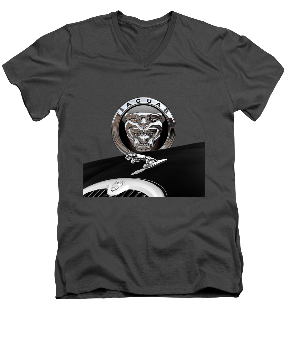'auto Badges' Collection By Serge Averbukh Men's V-Neck T-Shirt featuring the photograph Black Jaguar - Hood Ornaments And 3 D Badge On Red by Serge Averbukh
