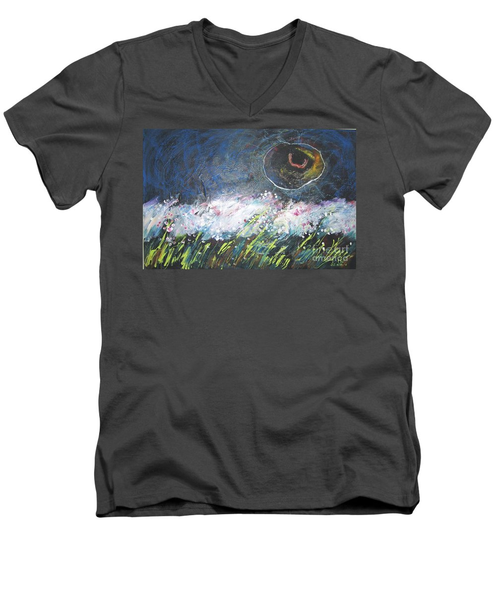 Aabstract Paintings Men's V-Neck T-Shirt featuring the painting Buckwheat Field by Seon-Jeong Kim