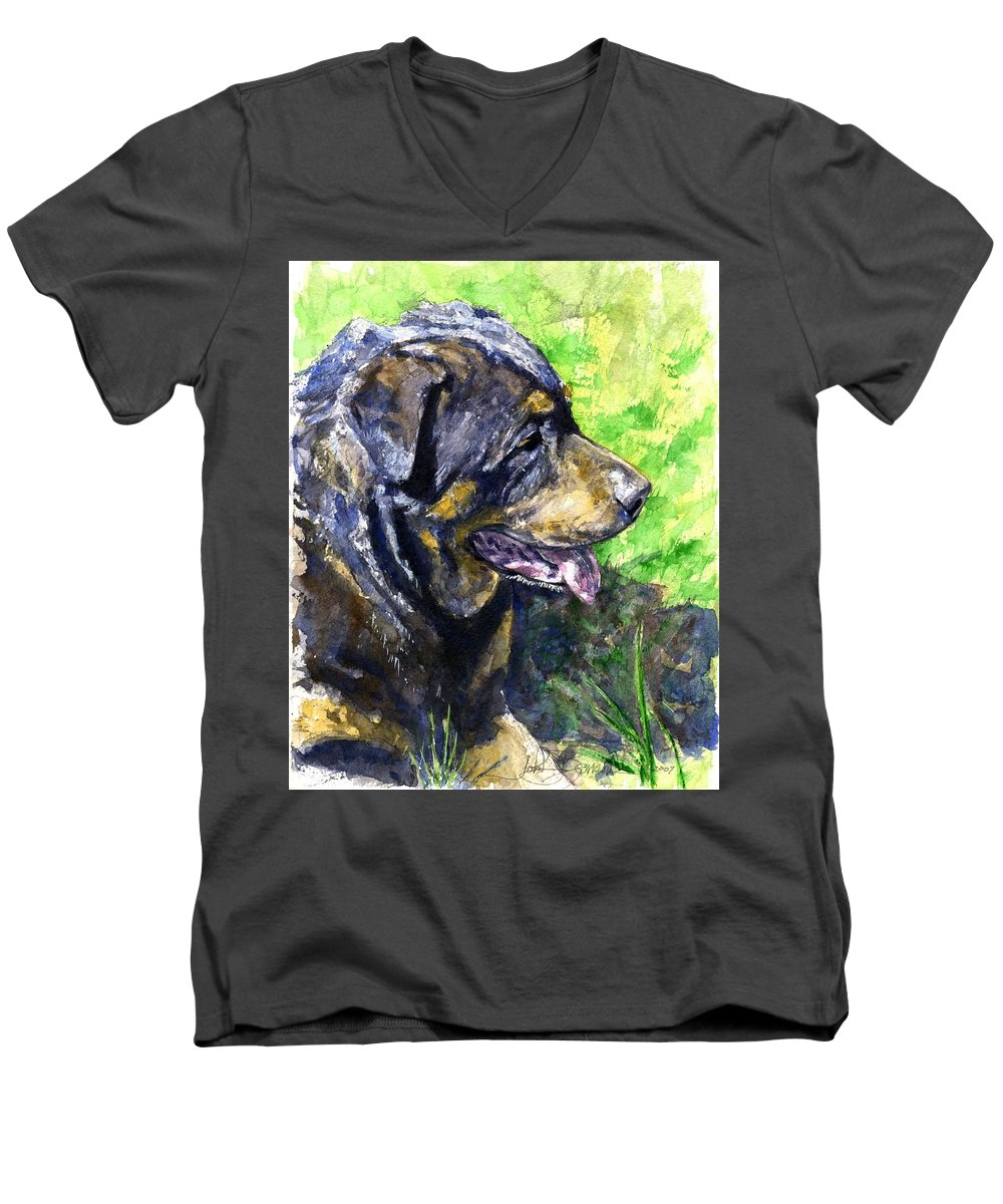 Rottweiler Men's V-Neck T-Shirt featuring the painting Chaos by John D Benson