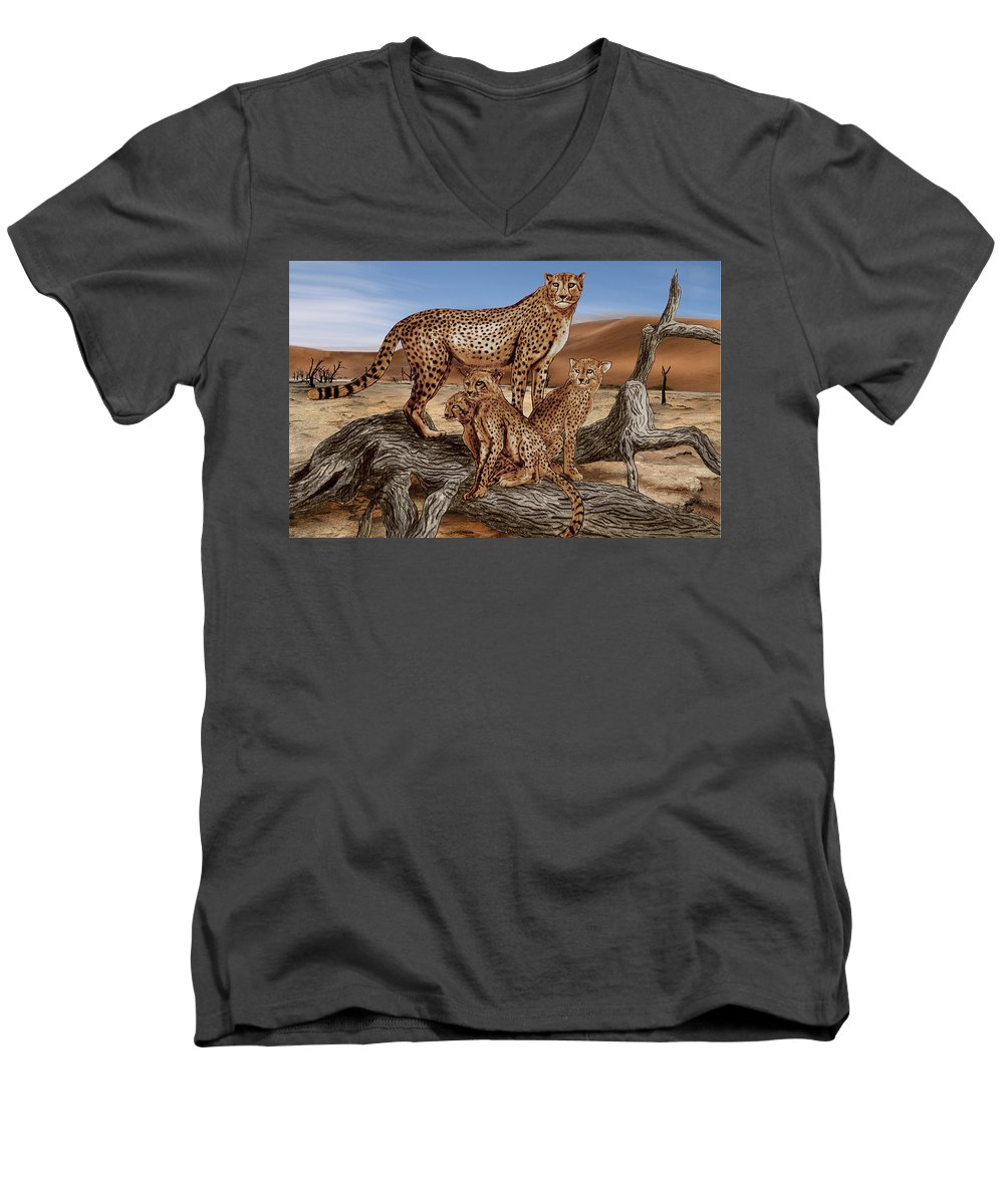 Cheetah Family Tree Men's V-Neck T-Shirt featuring the drawing Cheetah Family Tree by Peter Piatt