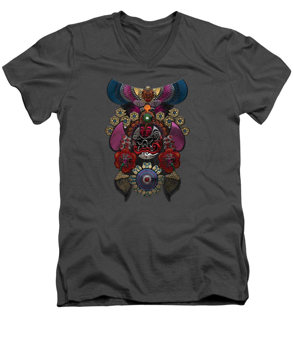 �treasures Of China� By Serge Averbukh Men's V-Neck T-Shirt featuring the photograph Chinese Masks - Large Masks Series - The Demon by Serge Averbukh