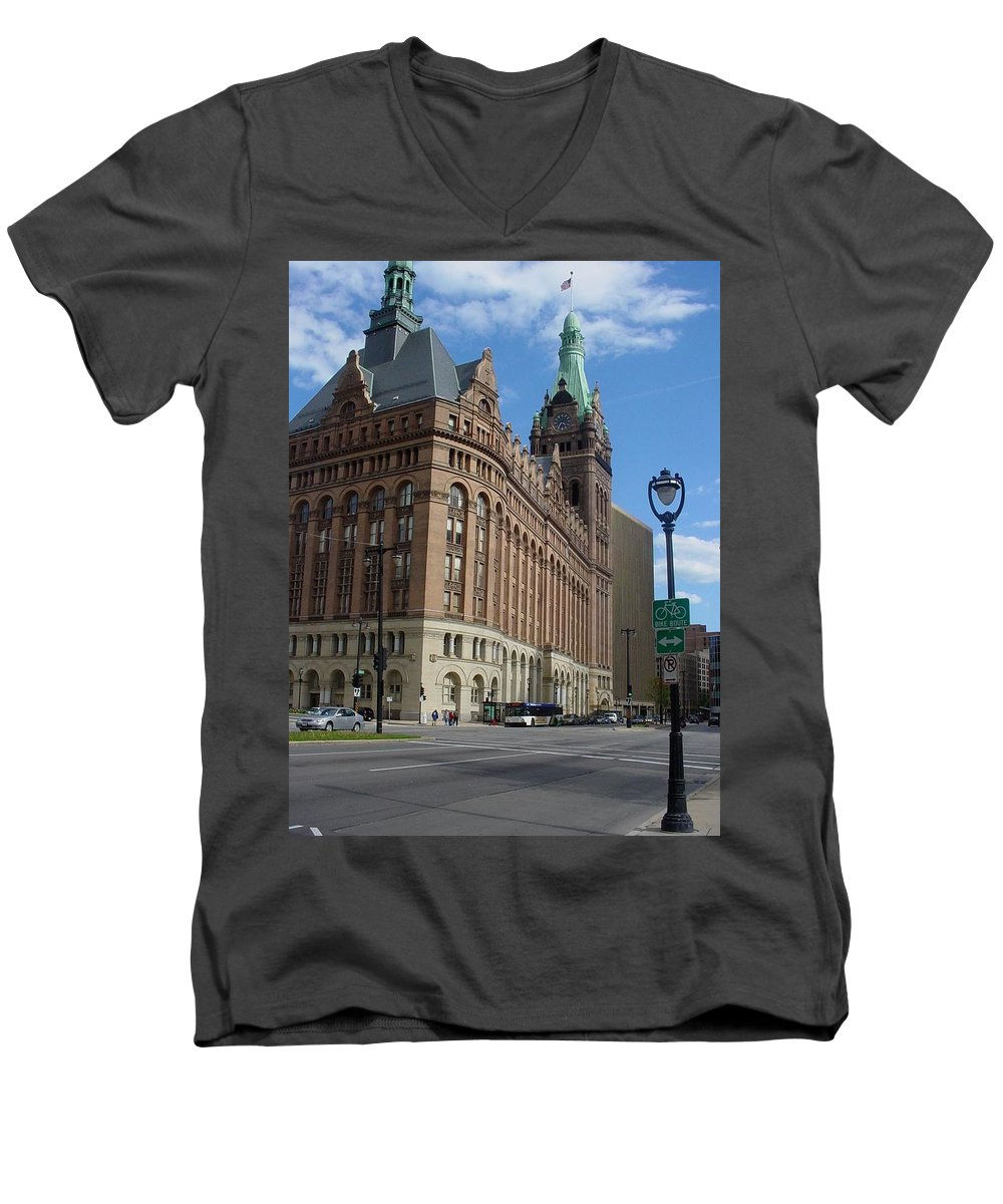 Milwaukee Men's V-Neck T-Shirt featuring the photograph City Hall And Lamp Post by Anita Burgermeister