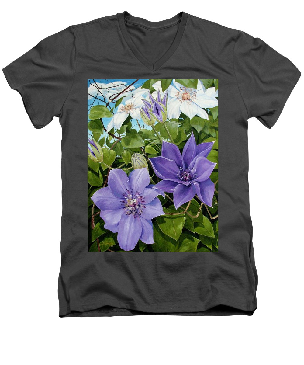 Clematis Men's V-Neck T-Shirt featuring the painting Clematis 2 by Jerrold Carton
