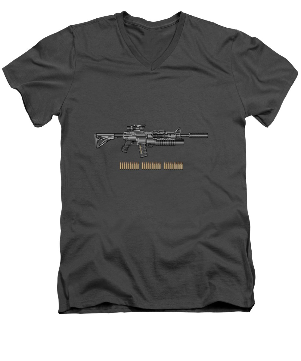 �the Armory� By Serge Averbukh Men's V-Neck T-Shirt featuring the photograph Colt M 4 A 1 S O P M O D Carbine With 5.56 N A T O Rounds On Red Velvet by Serge Averbukh