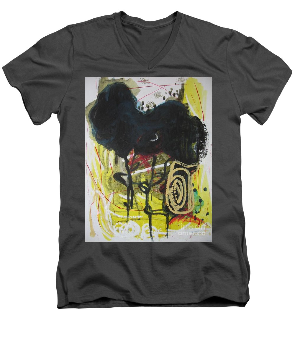 Abstract Paintings Men's V-Neck T-Shirt featuring the painting Crescent2 by Seon-Jeong Kim