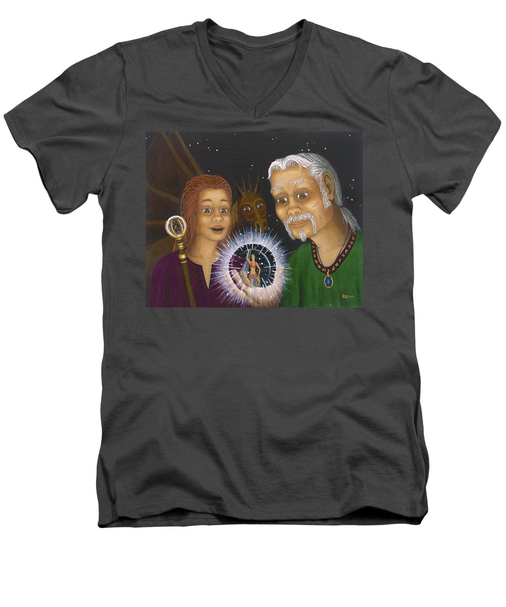 Fantasy Men's V-Neck T-Shirt featuring the painting Crystal Ball by Roz Eve