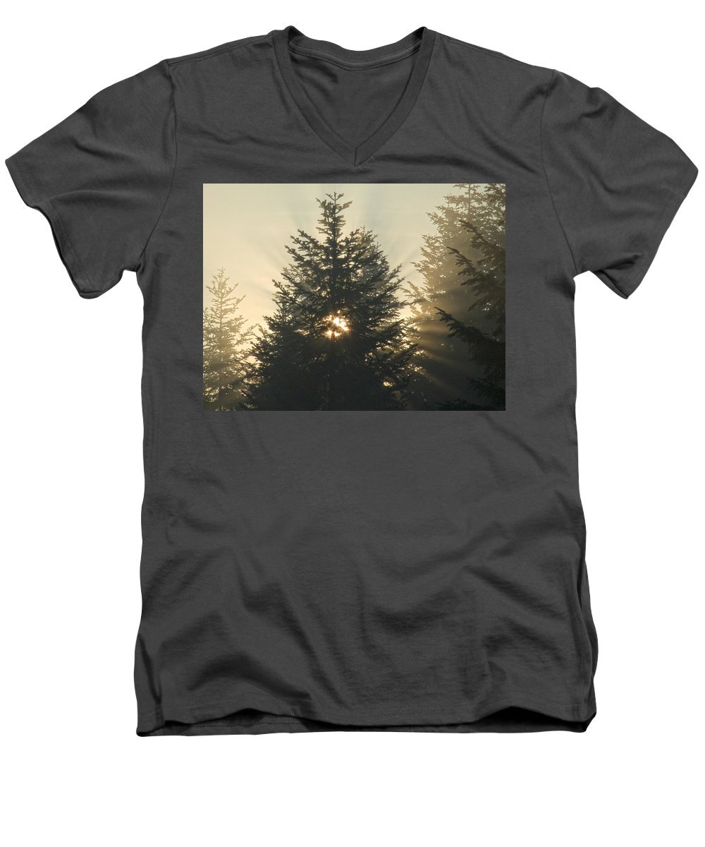 Nature Men's V-Neck T-Shirt featuring the photograph Dawn by Daniel Csoka