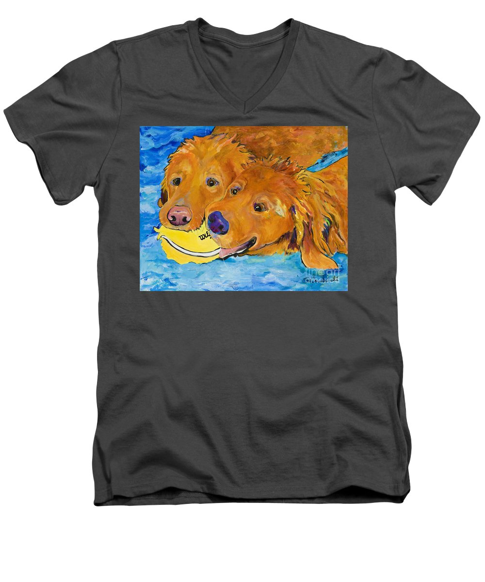 Golden Retriever Men's V-Neck T-Shirt featuring the painting Double Your Pleasure by Pat Saunders-White