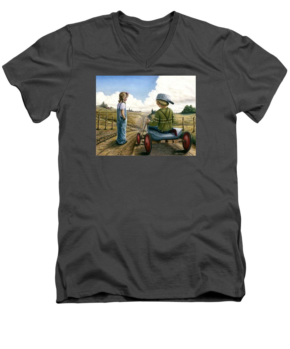 Children Playing Men's V-Neck T-Shirt featuring the painting Down Hill Racer by Lance Anderson