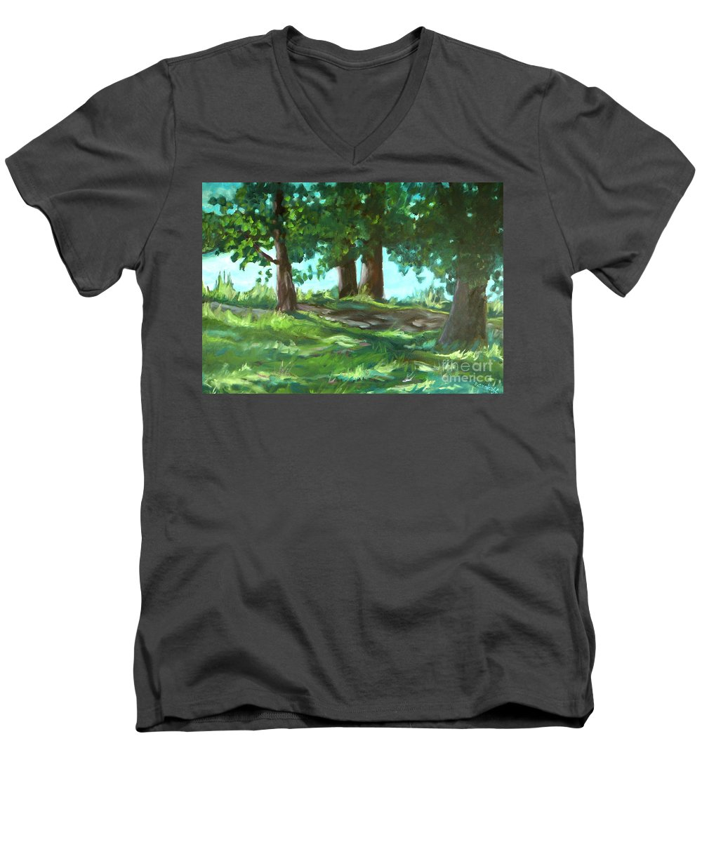 Expressionist Landscape Men's V-Neck T-Shirt featuring the painting Dreaming On Fellows Lake by Jan Bennicoff