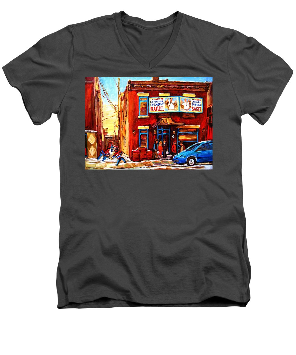Hockey Men's V-Neck T-Shirt featuring the painting Fairmount Bagel In Winter by Carole Spandau