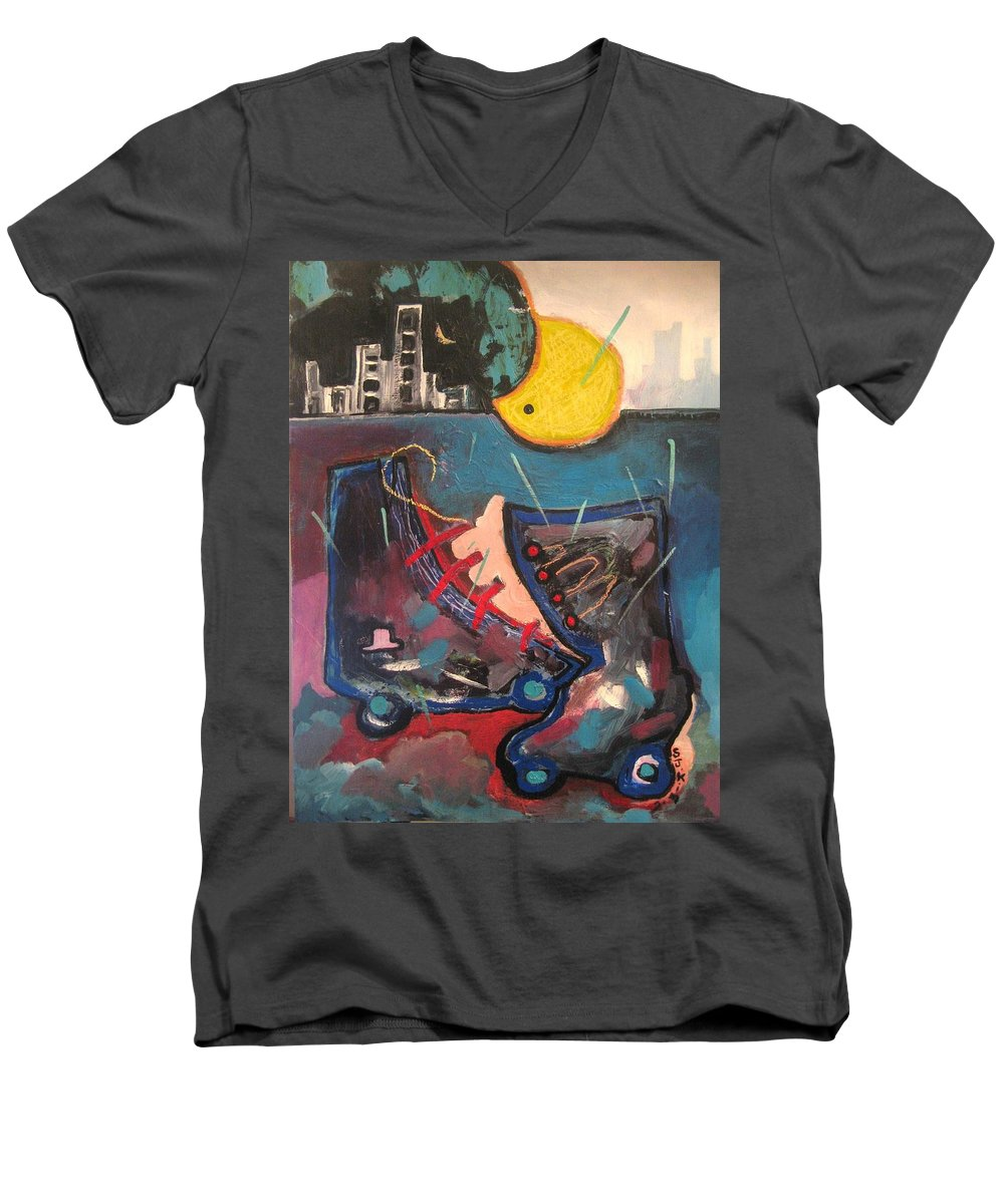 Abstract Paintings Men's V-Neck T-Shirt featuring the painting Forgotten Days by Seon-Jeong Kim
