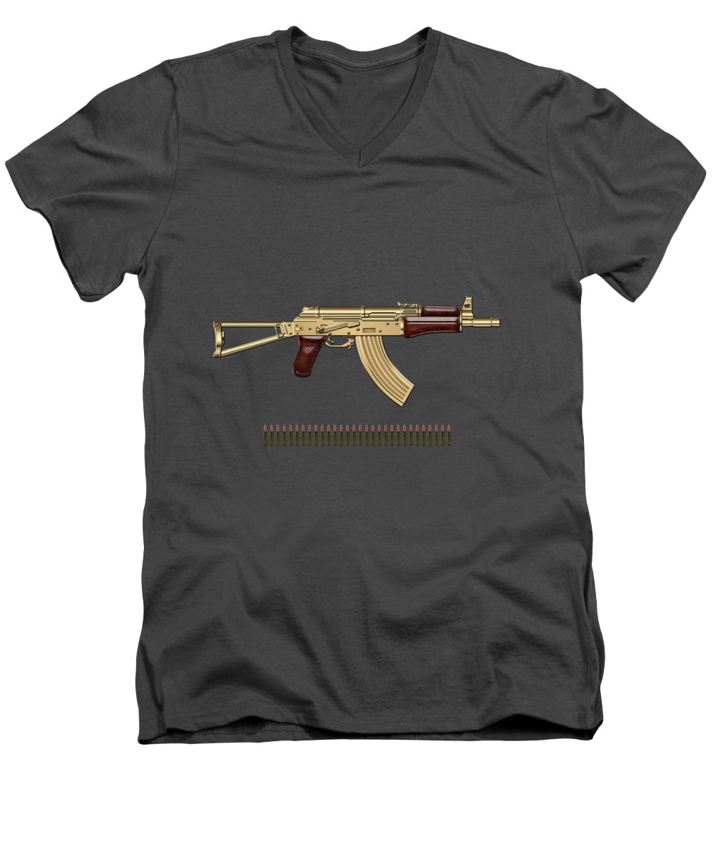 'the Armory' Collection By Serge Averbukh Men's V-Neck T-Shirt featuring the photograph Gold A K S-74 U Assault Rifle With 5.45x39 Rounds Over Red Velvet  by Serge Averbukh