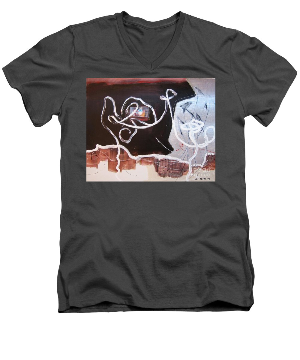 Abstract Paintings Men's V-Neck T-Shirt featuring the painting Hand In Hand by Seon-Jeong Kim