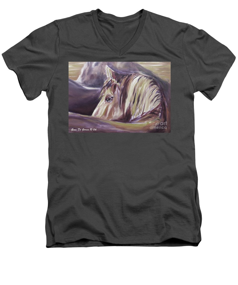 Brown Men's V-Neck T-Shirt featuring the painting Horse World Detail by Gina De Gorna