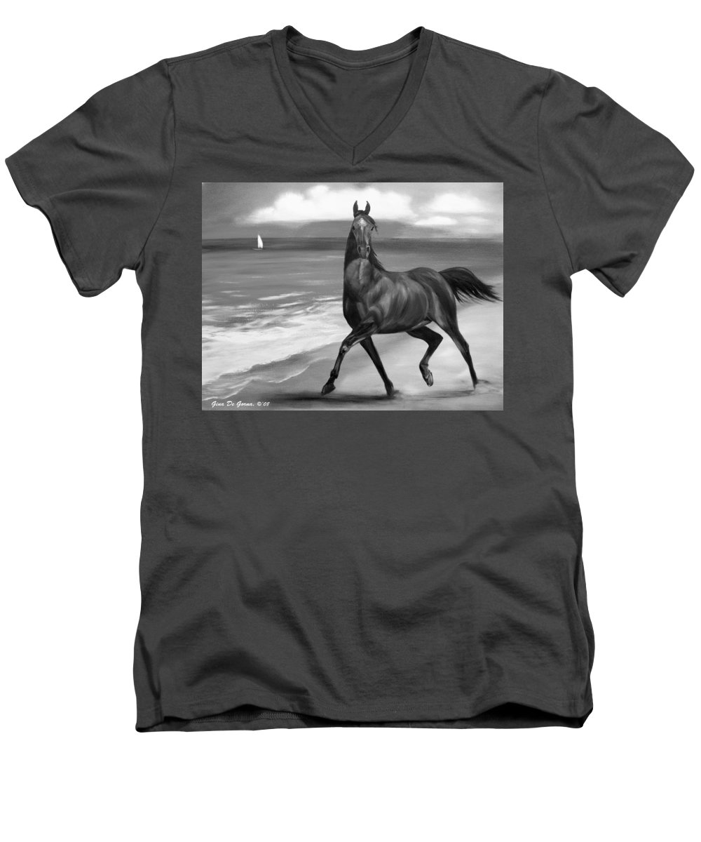 Horses Men's V-Neck T-Shirt featuring the painting Horses In Paradise Dance by Gina De Gorna
