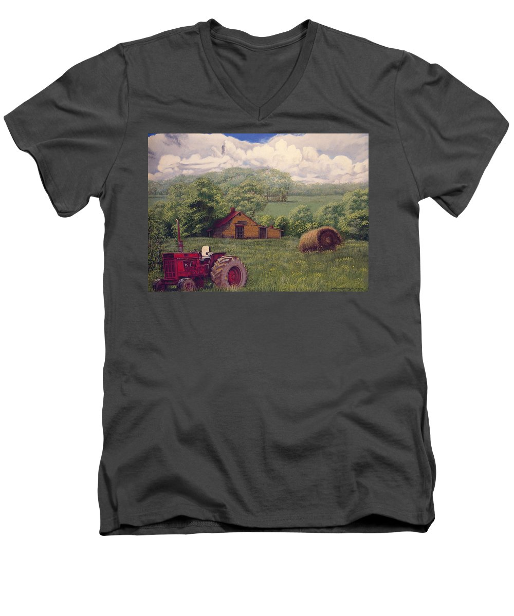 Landscape Men's V-Neck T-Shirt featuring the painting Idle In Godfrey Georgia by Peter Muzyka