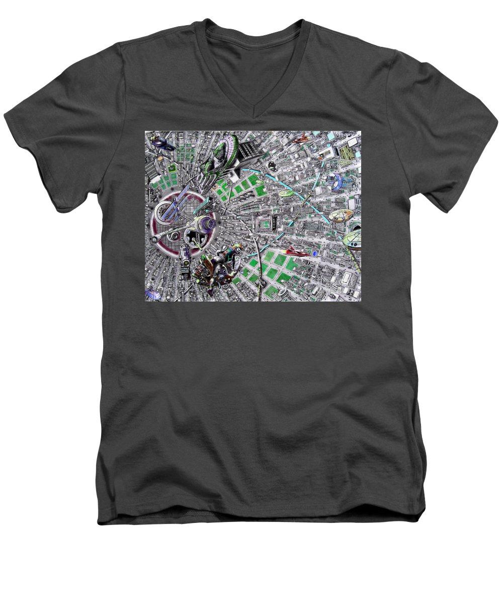 Landscape Men's V-Neck T-Shirt featuring the drawing Inside Orbital City by Murphy Elliott