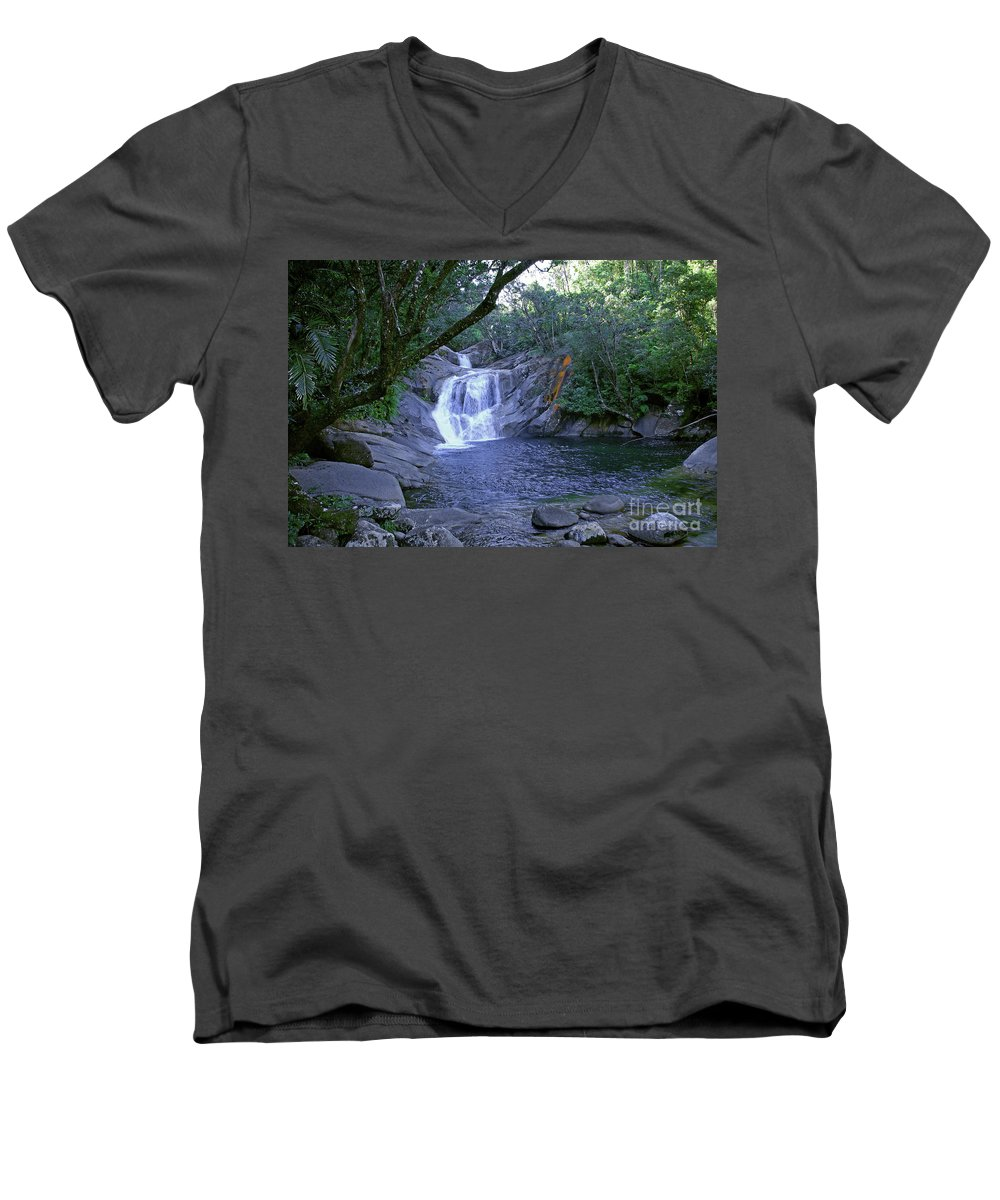 Tropical Men's V-Neck T-Shirt featuring the photograph Josephine Falls And Tropical Pool by Kerryn Madsen- Pietsch