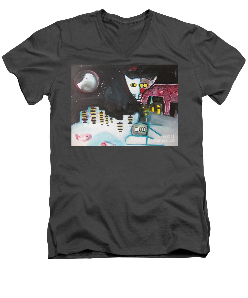 Cat Paintings Men's V-Neck T-Shirt featuring the painting Let Me Out3 by Seon-Jeong Kim