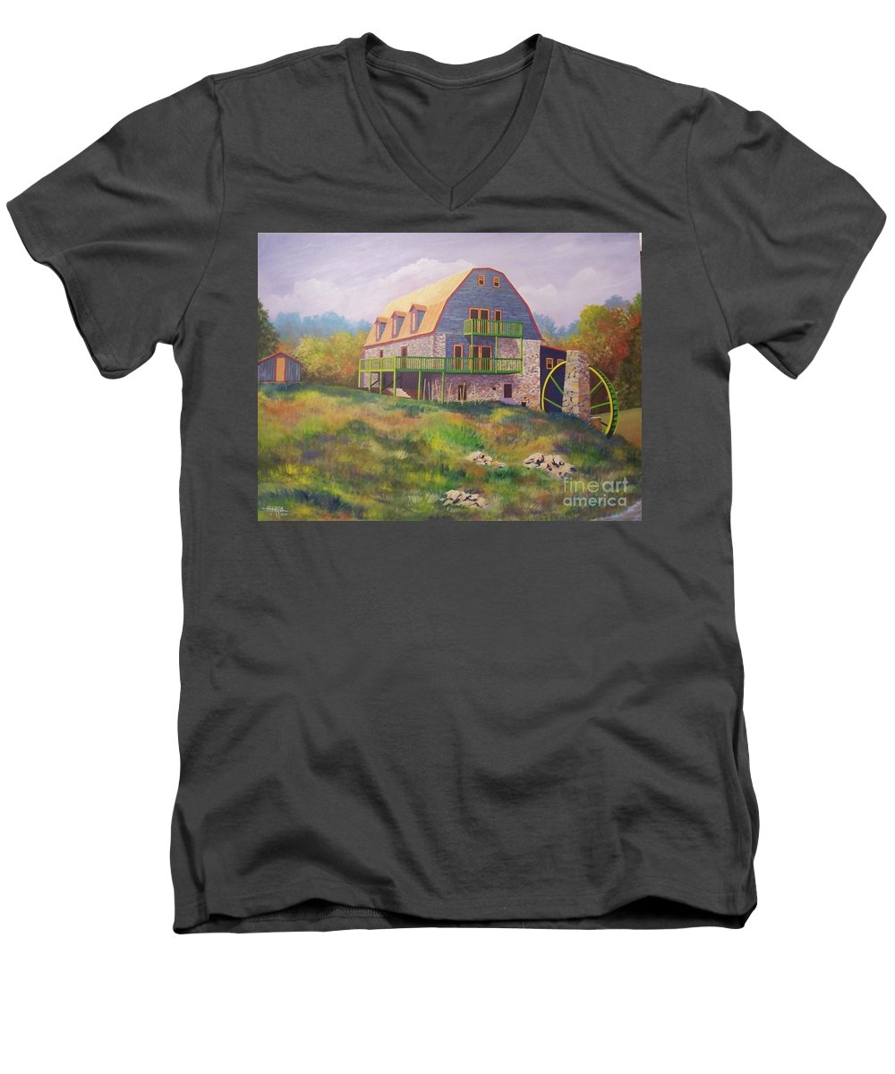 Mill Men's V-Neck T-Shirt featuring the painting Mountain Mill by Hugh Harris
